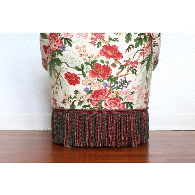 Napoleon III Style Floral Boudoir Chair With Bullion Fringe For Sale - Image 4 of 12