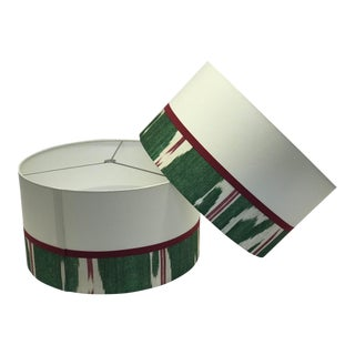 White and Green French Round Lamp Shades - A Pair For Sale