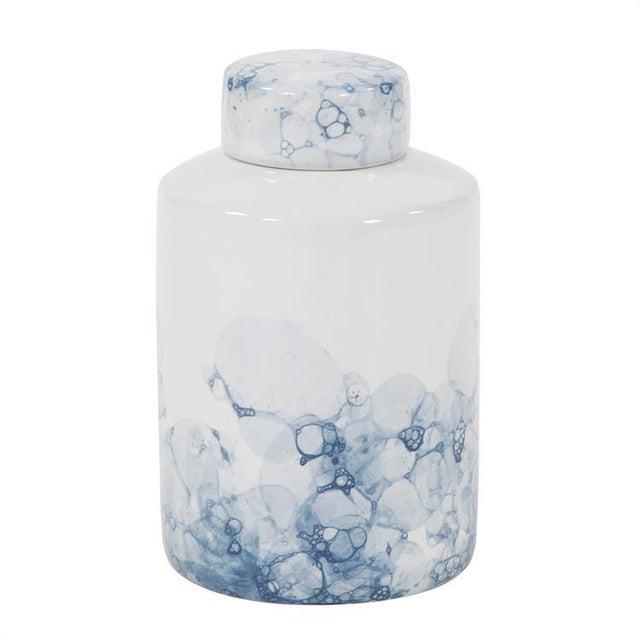 2020s Kenneth Ludwig Large Blue & White Porcelain Tea Jar For Sale - Image 5 of 5