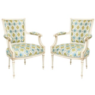 Pair of Painted French Fauteuils For Sale