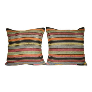 Set of 2 Stripe Pattern Kilim Pillow Cover, Wool Nomadic Cushion Cover 20'' X 20'' (50 X 50 Cm) For Sale