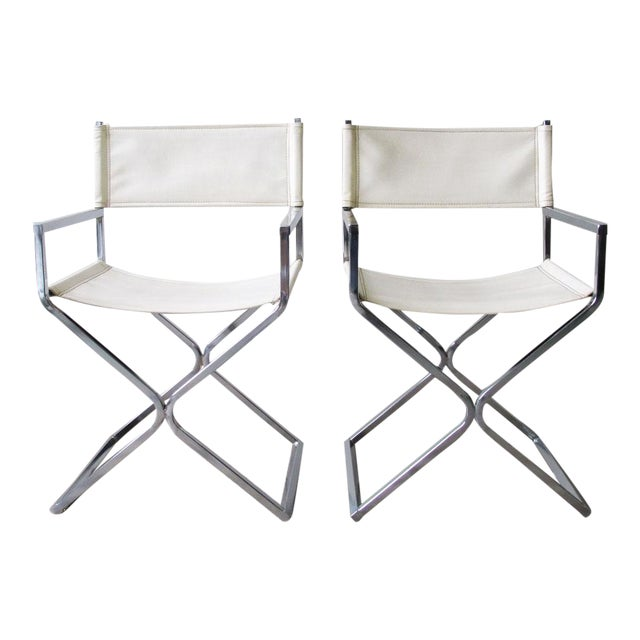 Chrome Director's Chairs - A Pair - Image 1 of 7