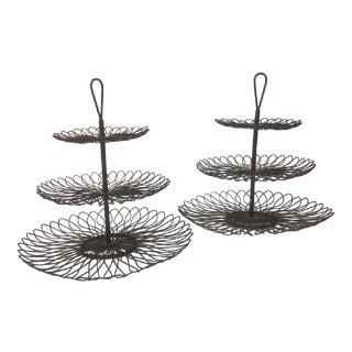 Vintage 3-Tier Spiral Metal Dessert Servers - A Pair
