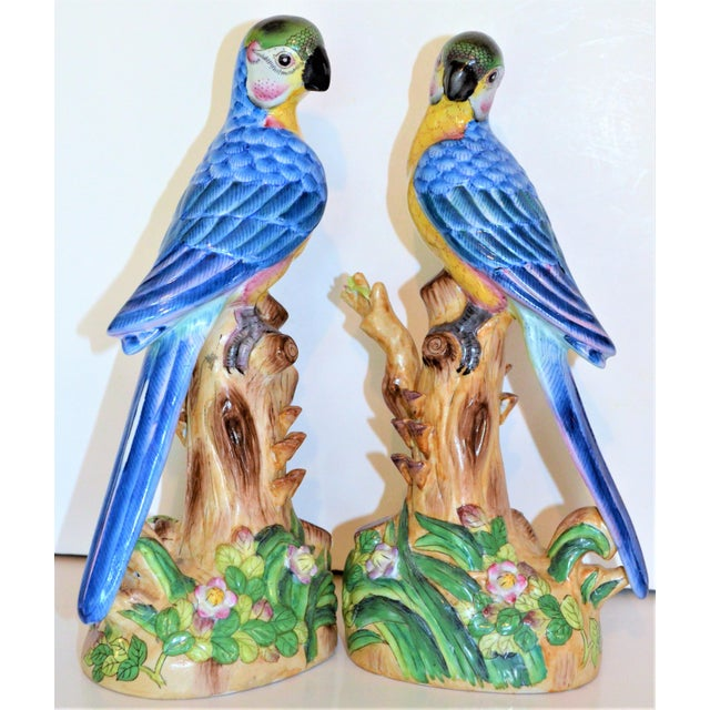 Blue Vintage Chinese Blue Majolica Parrot Figurines - a Pair For Sale - Image 8 of 15