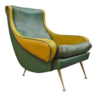 French Modern Lounge Chair in Brass