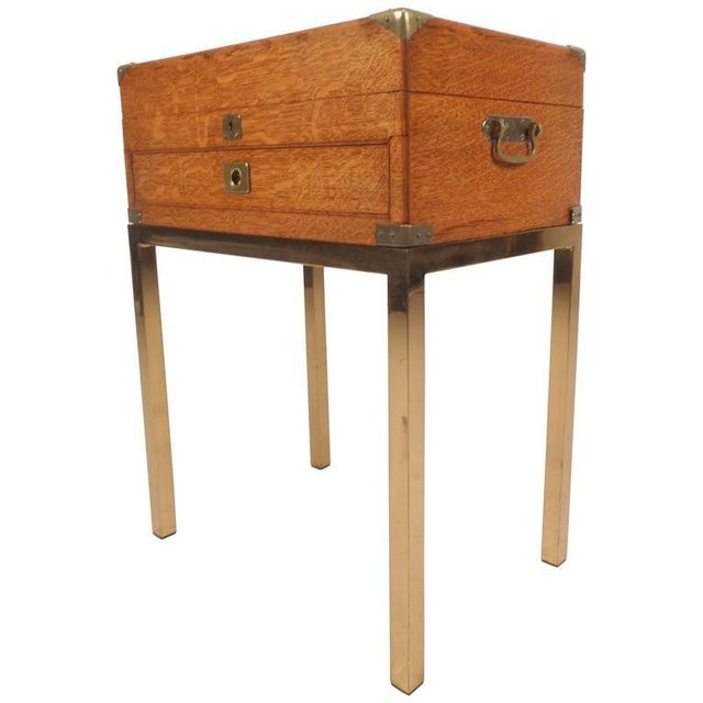 Mid-Century Modern Mid-Century Modern Single Drawer Campaign Style Stand For Sale - Image 3 of 11