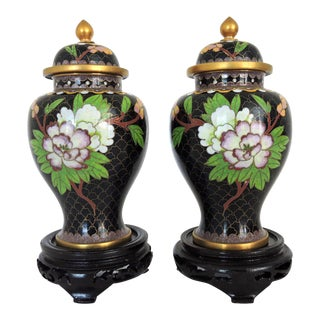 Vintage Pink & White Peony Cloisonné Lidded Black Ginger Jars / Vases / Urns - a Pair, Wood Stands For Sale