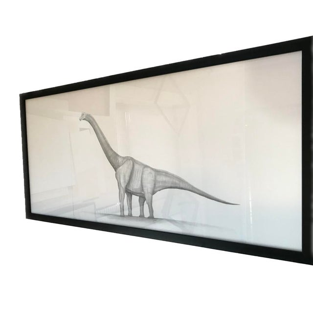 White Framed Original Graphite Dinosaur Drawing For Sale - Image 8 of 10