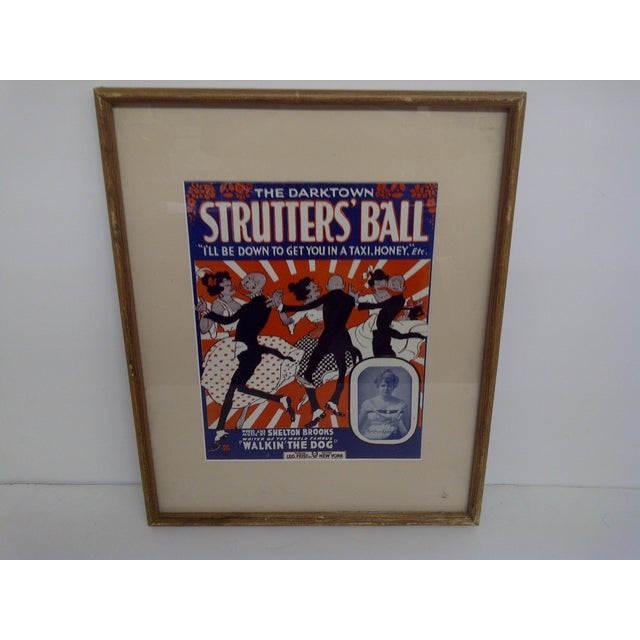 """Sheet Music -- """"The Darktown Shutter's Ball"""" -- """"I'll Be Down To Get You In A Taxi Honey"""" Wood Frame -- Matted -- Glass..."""