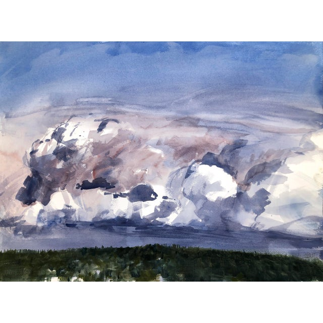 """Contemporary Landscape Plein-Air Watercolor Painting, """"Cloud Study From Magnuson"""", by Artist David O. Smith For Sale"""