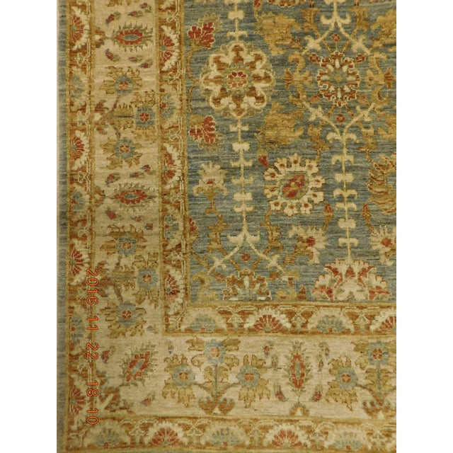 Cotton Hand Knotted Green and Yellow Afghan Rug - 6'x 9' For Sale - Image 7 of 10
