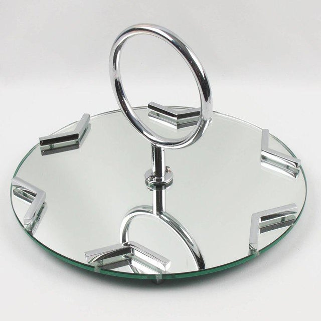 1930s French Art Deco Cocktail Set Barware Mirror Serving Tray and Dishes For Sale - Image 5 of 10