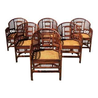 Vintage Brighton Pavillon Rattan Chairs- Set of 6 For Sale
