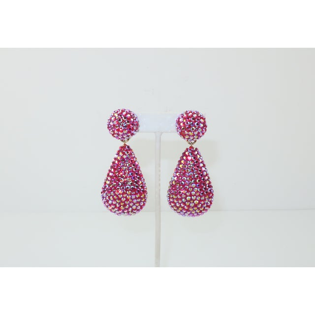 They may have a teardrop shape but these 1980's Richard Kerr earrings will bring nothing but smiles. The hot pink pave...