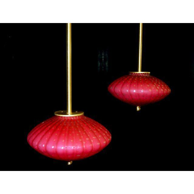 Brass Vintage Murano Glass Hanging Lamps Pink For Sale - Image 7 of 11