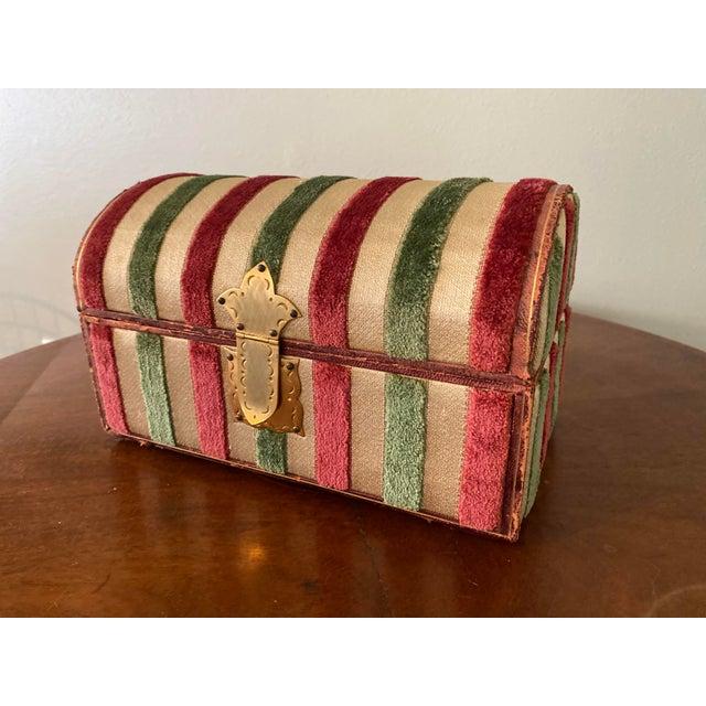 Vintage Striped Fomerz Italy Leather, Satin, Velvet, Felt Domed Box For Sale - Image 12 of 12