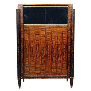 French High Style Art Deco Macassar Ebony Vitrine Cabinet For Sale