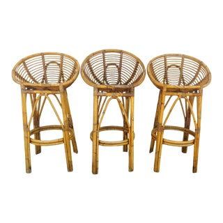 Modern 1950s Albini Style Rattan Bar Stools - Set of 3 For Sale