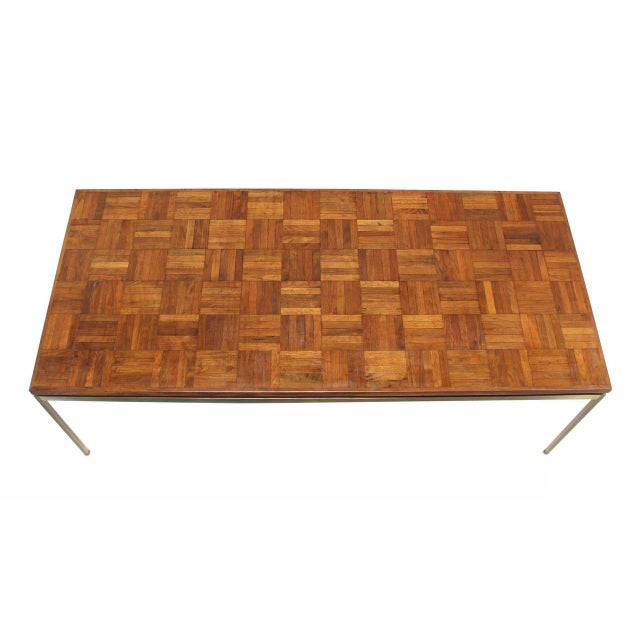 Large Brass Rectangle Base Parquet Top Coffee Table For Sale - Image 4 of 6