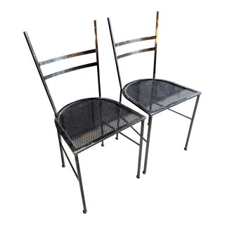 Perforated Steel Modernist Patio Chairs - a Pair For Sale