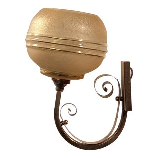 French Art Deco Copper & Gold Wall Sconce For Sale