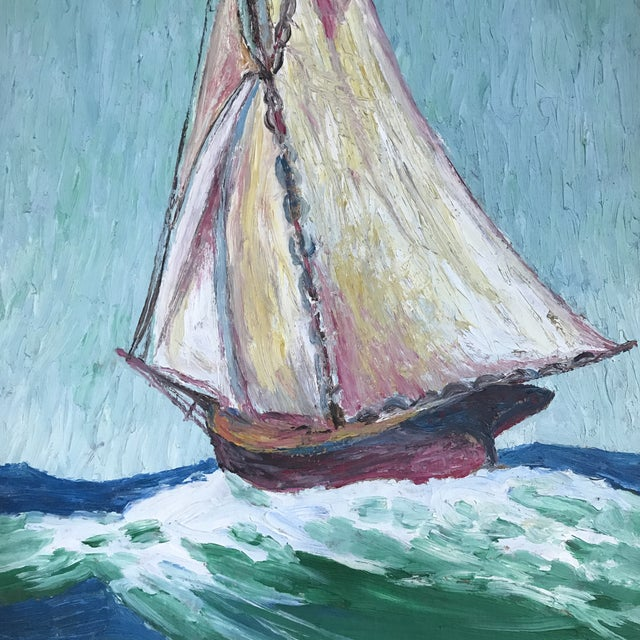 Howard Fox Vintage Sailboat Painting 1925 For Sale - Image 5 of 7