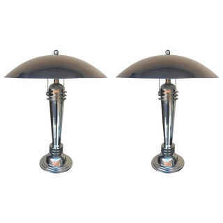 Art Deco Style Chrome Lamps - a Pair
