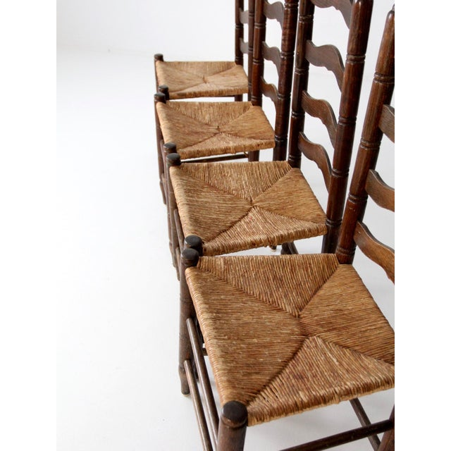 Antique Ladder Back Chairs with Rush Seats - Set of 4 - Image 6 of 10 - Antique Ladder Back Chairs With Rush Seats - Set Of 4 Chairish