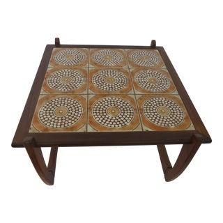Vintage Danish-Style Tile Top Coffee Table