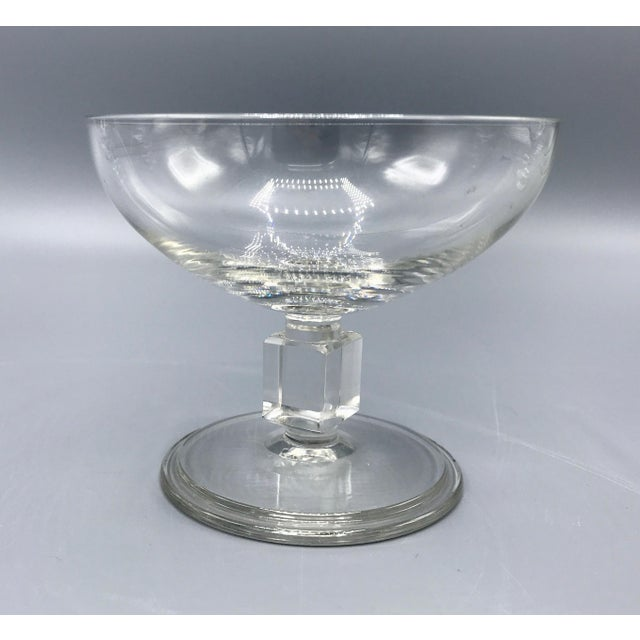 Mid-Century Cube Stem Crystal Coupe Champagne Glasses by Val St. Lambert - Set of 8 Elegant Belgium crystal champagne...