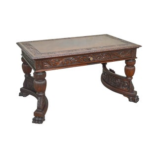 Horner Antique North Wind Carved Mahogany Writing Desk Library Table