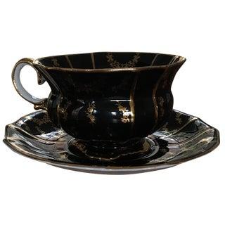 Collingwoods Black & Gold Teacup and Saucer