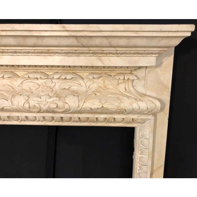 Swedish Painted and Distressed Decorated Fire Surround in Faux Marble Finish For Sale - Image 9 of 13