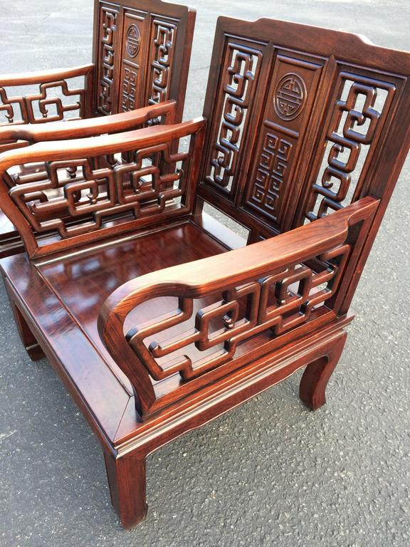 Superbe Asian Antique Carved Chinese Chippendale Rosewood Chairs   A Pair For Sale    Image 3 Of