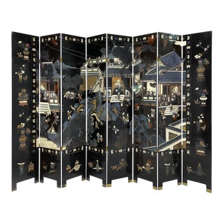 Chinese Eight Panel Coromandel Folding Lacquered Screen For Sale