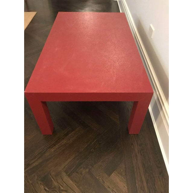 Red Lacquer Painted Parson's Style Coffee Table - Image 4 of 5