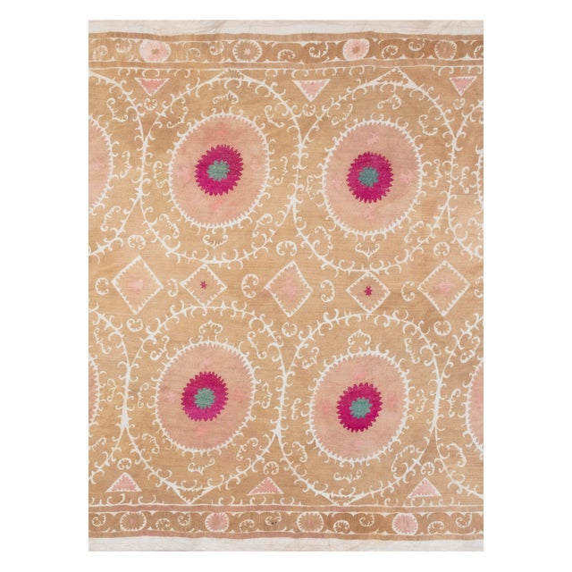 """Tribal Embroidery Wall Decor, Suzani Bedspread 8'2"""" X 11'6"""" For Sale - Image 9 of 13"""