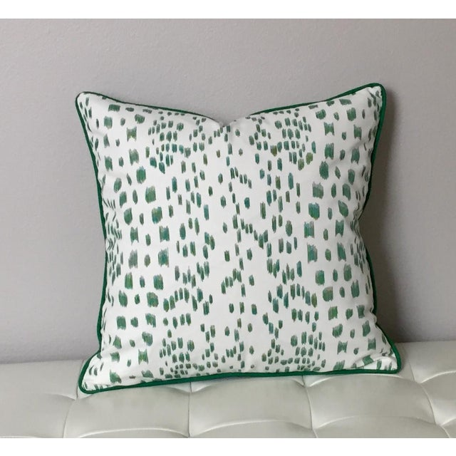 Contemporary Brunschwig & Fils Les Touches Green and Ivory Pillow Cover For Sale - Image 3 of 7