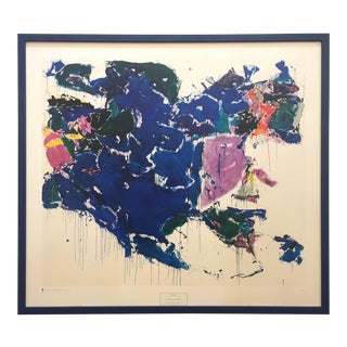 "Sam Francis Rare Vintage 1972 Abstract Expressionist Framed Mid Century Modern Fine Art Lithograph Print "" Blue Out of White "" 1958 For Sale"