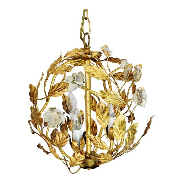 Vintage Three-Arm/Light Italian Gold Gilt Ball Tole Chandelier For Sale