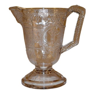 19th C American Pressed Glass Pitcher For Sale