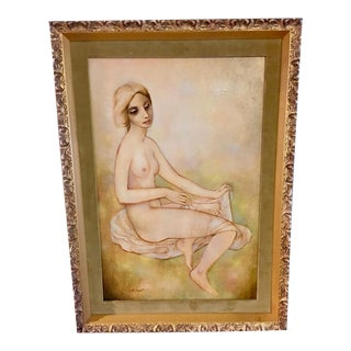 1960's Velvet Matted Nude Expressionism Painting For Sale