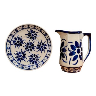 1980s Blue and White Brazilian Porcelain Pitcher and Plate - 2 Pieces For Sale