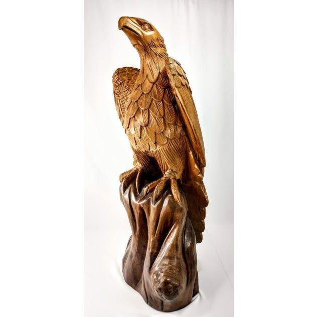 Superb Vintage Life Size 34 in Tall Golden Eagle Statue Hand Carved From One Piece of Wood For Sale In Orlando - Image 6 of 13