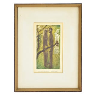 1950s Mario Reyes Nude Man and Woman in Nature Aquatint Etching For Sale