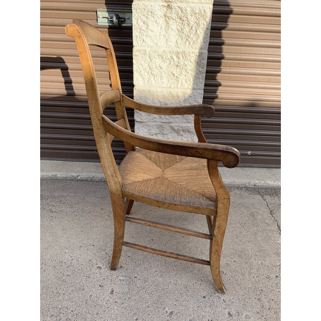 Mid 19th Century Mid 19th Century French Walnut Rush Seat Armchair For Sale - Image 5 of 13