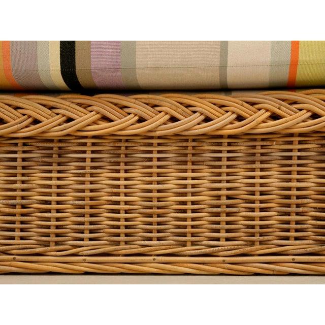 "Vintage Italian Les Toiles Du Soleil Upholstered ""Wicker Works"" Bench - Image 9 of 11"