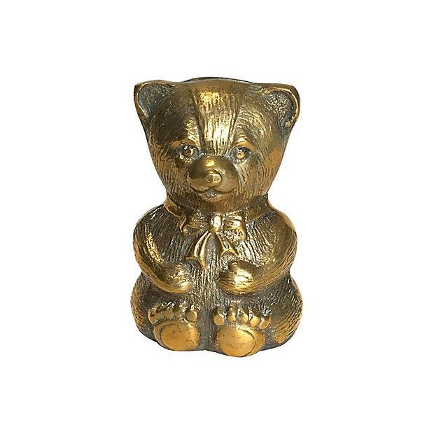 1980s Brass Teddy Bear Bank For Sale - Image 4 of 4