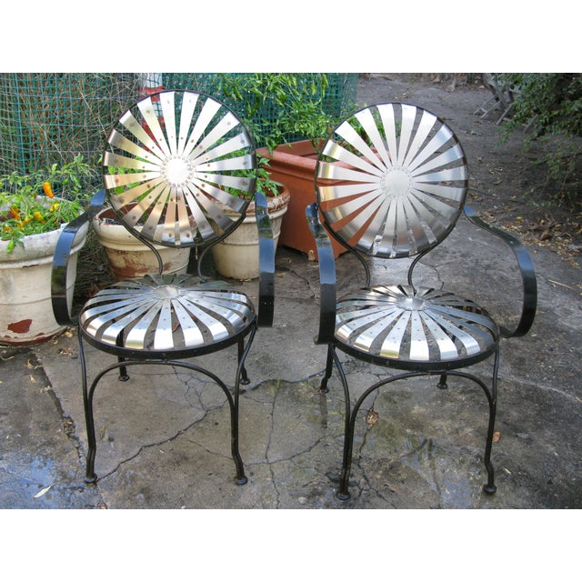 French Sunburst Spring Garden Cafe Chairs - A Pair - Image 2 of 5 - French Sunburst Spring Garden Cafe Chairs - A Pair Chairish