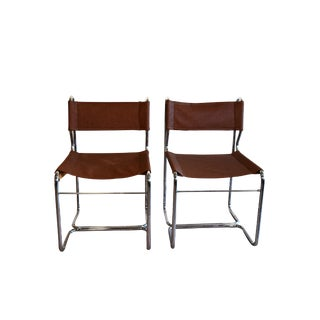 1960s Vintage Chrome & Leather Cantilever Chairs- a Pair For Sale